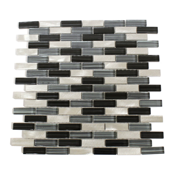 Kitchen Backsplash Mosaic Tile In A Blue Glass Black Glass And Metal Cask Industries