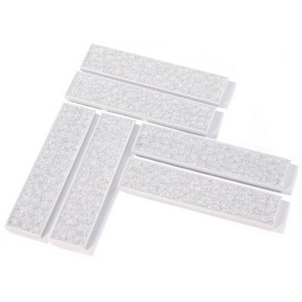 Backsplash Tile in Glittering White-Silver, tile pattern of 6 pieces