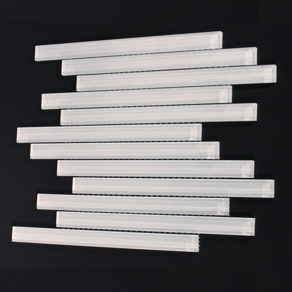 Staggered Glass Tile in White