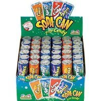 Kidsmania Soda Can Fizz Candy Variety Pack: Sprint Lemon Lime, Loca Cola, Crash Orange, Splash Grape - 0.25 Ounce, 72-Pack