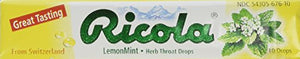 Ricola Cough Suppressant Throat Drops, Natural Lemon-mint Herb Throat Drops, 10 Drops Per Stick (Pack of 24)