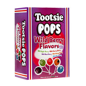 Tootsie Pops Assorted Wild Berry Flavors with Chocolatey Center, 3.75 Pound, 100 Count Halloween Candy Giveaway Box Peanut Free, Gluten Free