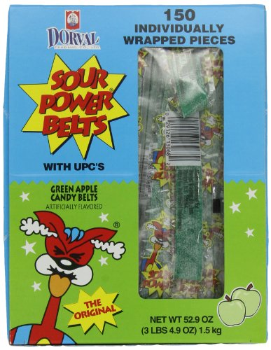 Sour Power Green Apple, Individually Wrapped Belts, 52.9 Ounce (Pack of 150)