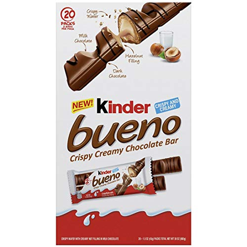 Kinder Bueno Crispy Creamy Chocolate Bar, 1.5 oz, 20 Count