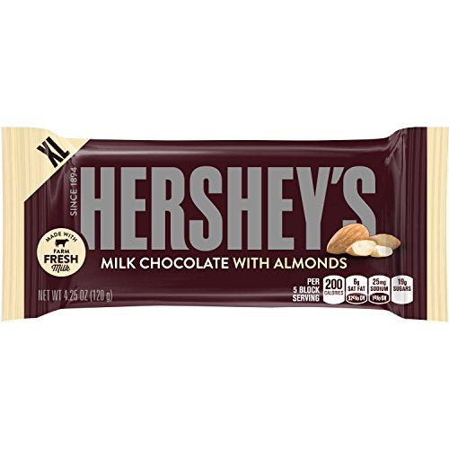 HERSHEY'S Chocolate Bar with Almonds, Milk Chocolate Candy Bar with Almonds, 4.2 Ounce Bar (Pack of 12)