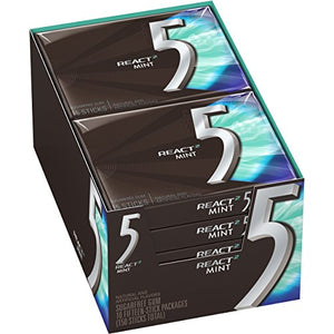 5 Gum React Mint Sugarfree Gum, 10 Packs (150 Pieces Total)