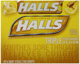 HALLS Cough Drops (Honey Lemon, 9 Drops, 20 Pack)