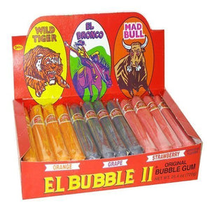 Original Bubble Gum El Bubble II - Assorted Flavors: Wild Tiger (Orange), El Bronco (Purple/Grape), Mad Bull (Pink/Strawberry) - 36 Pieces, 25.4 Ounce