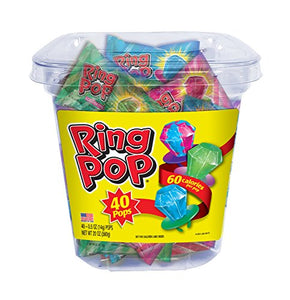 Ring Pop Candy Lollipops, 0.5 Ounce (40 Count Tub)