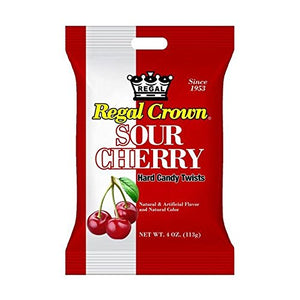 Regal Crown Sour Cherry Hard Candy Peg Bag 4 oz (Pack of 12)