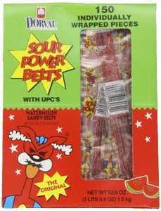 Sour Power Watermelon, Individually Wrapped Belts, 52.9 Ounce (Pack of 150)