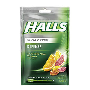 HALLS Defense Sugar Free Vitamin C Supplement Drops (Assorted Citrus, 25 Drops, 12 Pack, 300 Drops Total)