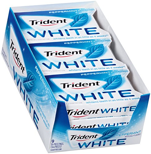 Trident White Sugar Free Gum (Peppermint, 16-Piece, 9-Pack)