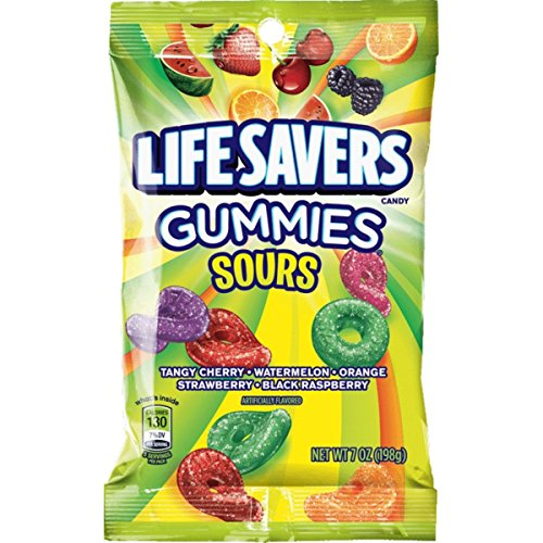 Life Savers Sours Gummies Candy Bag, 7 ounce (12 Packs)