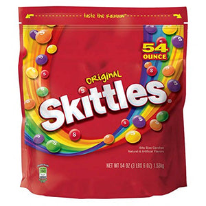 SKITTLES--Original Candy--Assorted Fruit Flavored Candy--Skittles Original Bite-Sized Candies--Resealable Pouch-54oz. Bag