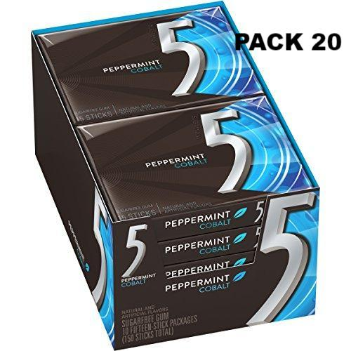 5 Gum Peppermint Cobalt Sugarfree Gum, 15 Piece (20 Pack)
