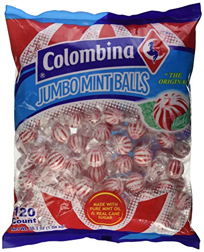 Jumbo Red & White Peppermint Hard Candy Balls 120 Count Bag
