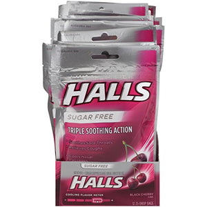 HALLS Sugar-Free Cough Drops, (Black Cherry, 25 Drops, 12-Pack)