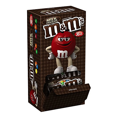 MARS M&M'S Milk Chocolate Candy Singles Size 1.69-Ounce Pouch 36-Count Box