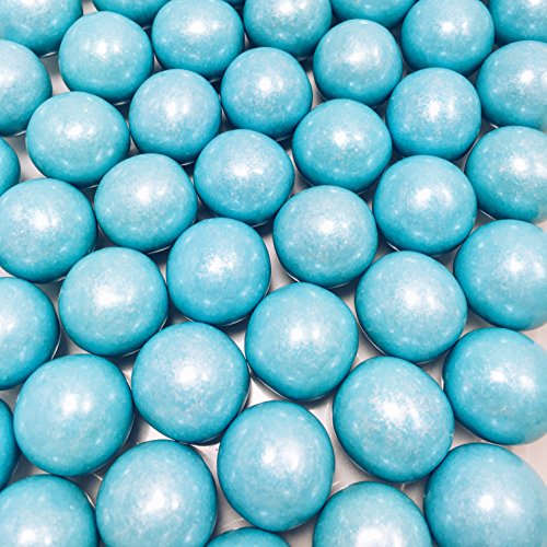 Large 1 Light Blue Shimmer Gumballs - 2 Pound Bags - About 120 Gumballs Per Bag - by The Nile Sweets