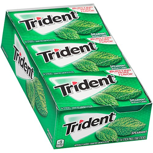 Trident Sugar Free Gum Spearmint, 14 ct (Pack of 12)