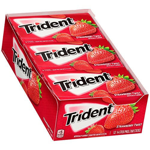 Trident Sugar Free Gum, Strawberry Twist, 12 Pack