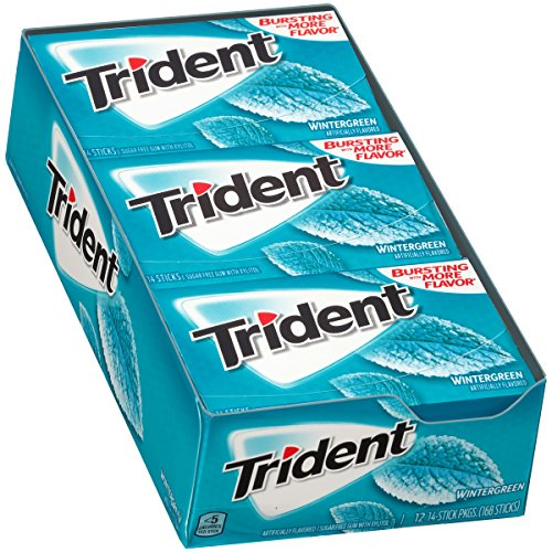 Trident Sugar Free Gum, Wintergreen, 14 ct (Pack of 12)