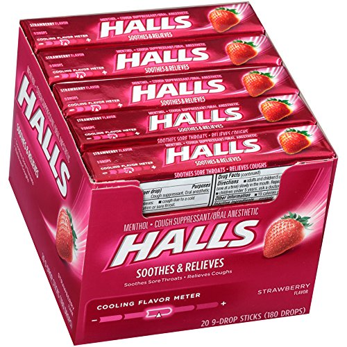 HALLS Cough Drops, (Strawberry, 9 Drops, 20-Pack)