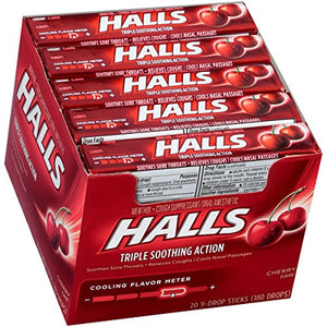 HALLS Cough Drops, (Cherry, 9 Drops, 20-Pack)