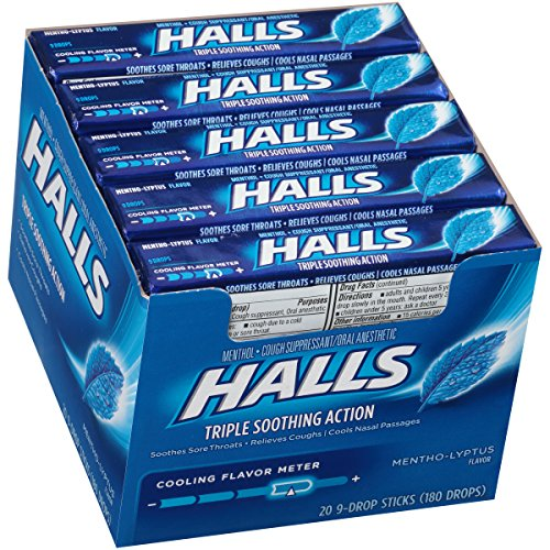 HALLS Cough Drops, (Mentho-Lyptus, 9 Drops, 20-Pack)