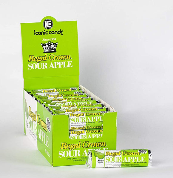 Regal Crown Hard Candy Rolls- (Sour Apple) 24 CT