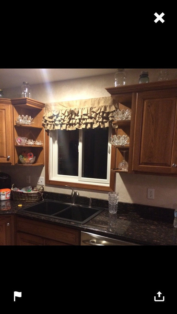 Burlap Ruffled Valance Rustic Primitive Burlap Window Treatments