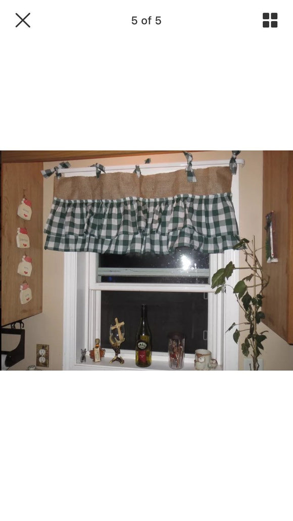Burlap Valance with Hunter Green Ruffles and Matching Ties Vintage Valances Burlap kitchen Curtain