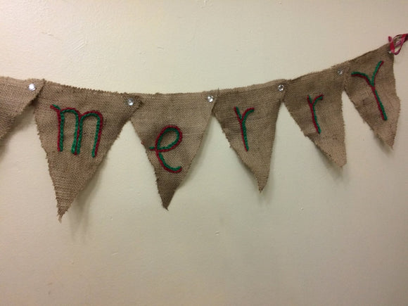 Burlap Merry Christmas Banner Burlap Holiday Banner  Merry Christmas Embroidery Design