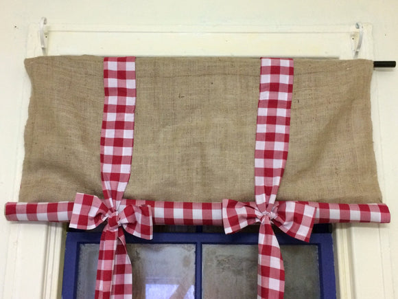 2 in One Reversible Burlap and Gingham Fabric Gingham Drapes Ruffle Burlap Curtains