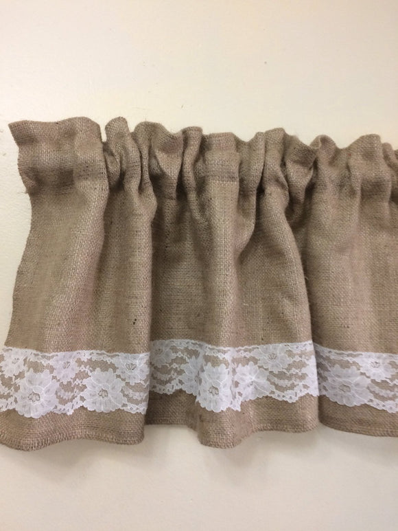 72X15 natural burlap valance with lace