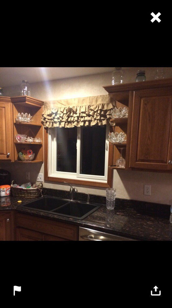 Ruffled Burlap Valance with 4 tires of burlap