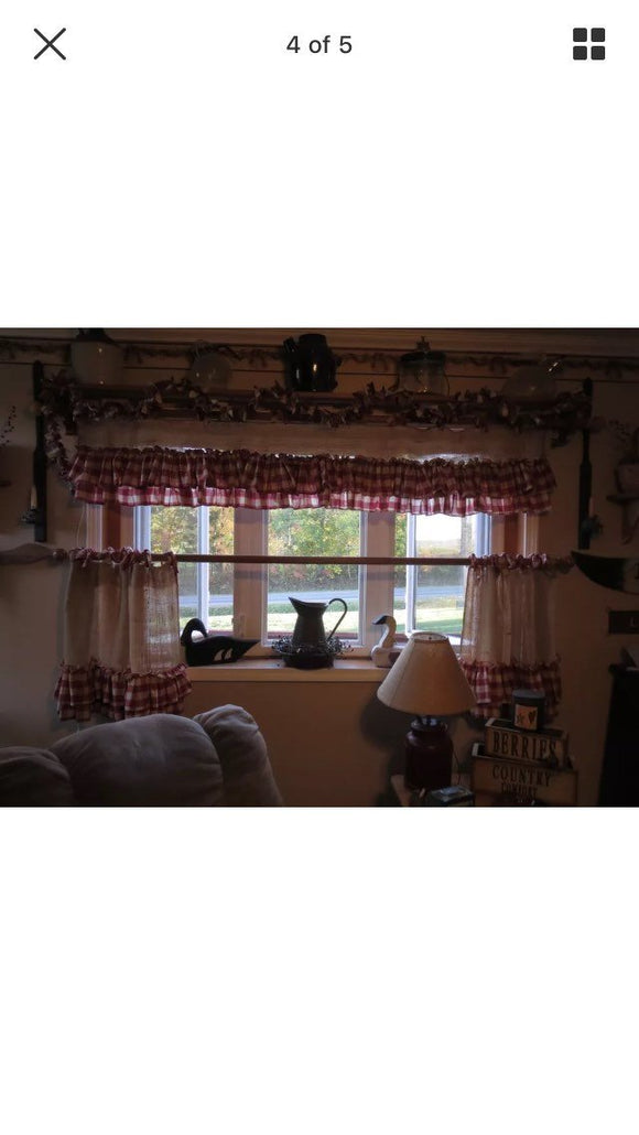 Burlap and Gingham valance
