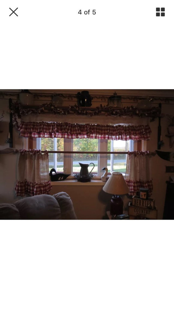 Burlap and Gingham Valance Vintage Gingham Curtains Window Treatments Home Decor vintage look farmhouse