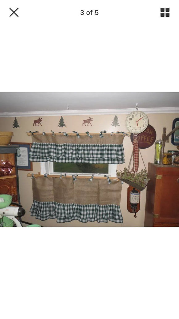 Burlap Cafe Style  Curtain with Ruffles and Ties Vintage Valances  Burlap kitchen curtain