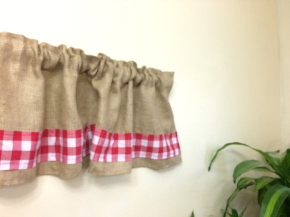 Burlap and Red Gingham Valance 72
