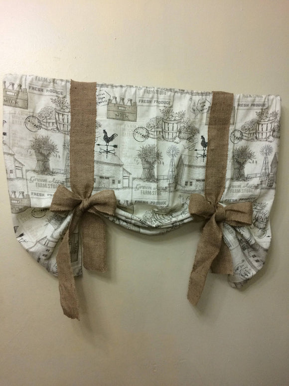 Handmade Vintage French Country print Tie up Valance 45