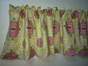 "Suzani Linen Fabric with Great Yellow Spring Color 72""X15"" Home Decor Valance Curtains great for farmhouse decor"