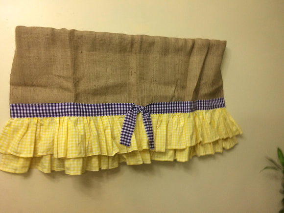 Natural Burlap with Yellow Gingham Ruffles 40X20 Ruffle Curtains Window Treatments