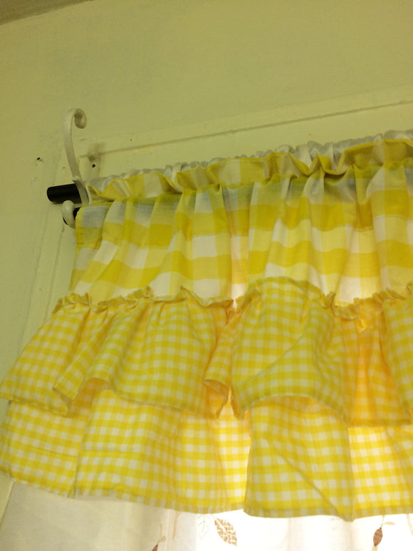 Yellow Gingham Valance with Ruffles Gingham Vintage Curtains Farmhouse