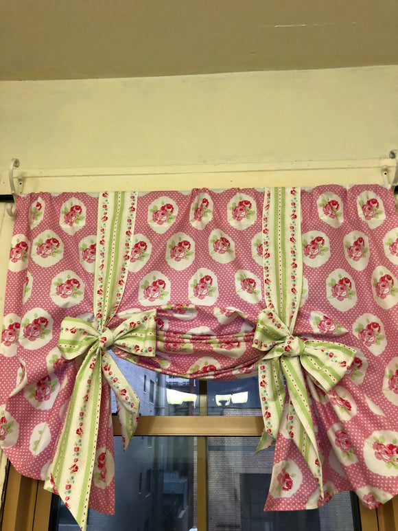 Handmade Nursery Girls room Pink and green tie up valance