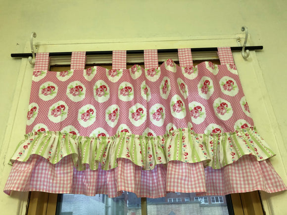 Handmade Nursery Girls Room Ruffles Pink and Green Valance Window Treatments
