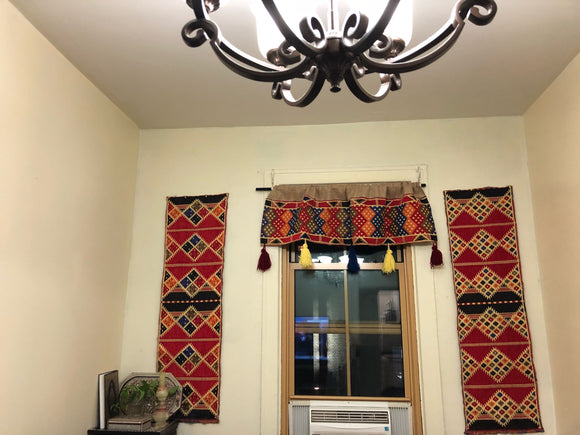 Ramadan Decoration ,Window Valance With 2 Long Panels Home Decor vintage look farmhouse 3pc set