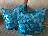 "Turquoise Decorative Pillow Coverwith hanging circles 18""X18""set of 2"