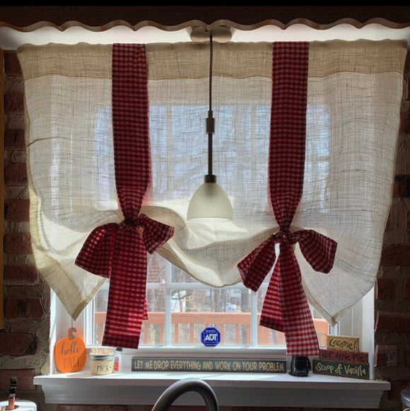 White Burlap with Red Gingham  Window Valance Gingham Curtains Window Treatments